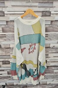 VINTAGE CURVY 90'S YK2 BOHO PLUS SIZE OVERSIZED LONG TALL ABSTRACT JUMPER/DRESS