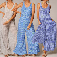 Womens Sleeveless Loose Striped Wide Leg Playsuit Party Summer Romper Jumpsuit