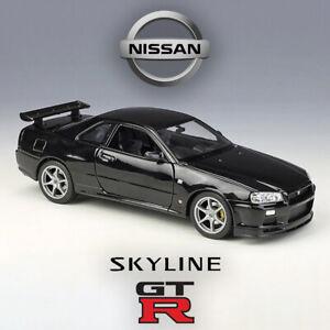 1:24 Nissan Skyline GTR R34 Black Diecast JDM Model Car Toy | WELLY NEW IN BOX