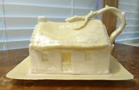 VTG. BELLEEK COUNTRY COTTAGE COVERED BUTTER/CHEESE DISH 2nd GREEN MARK 1955-65