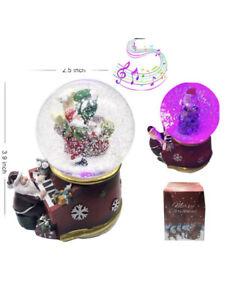 Christmas Santa Claus Musical Snow Globe Crystal Ball Glitter LED Light