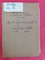 Carnet manuscrit ECOLE DE FILLES rue Lasalle PARIS/ecole pendant la Guerre 14/18