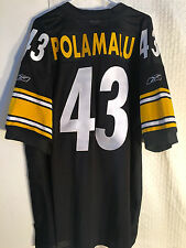 Reebok Authentic NFL Jersey PITTSBURGH Steelers TROY Polamalu Black sz 54