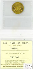 Canada 1942 5 Five Cents ICCS Certified MS-65 Tombac XSL 300