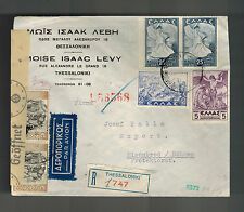 1942 Thessaloniki Greece Censor Cover Eisenbrod Czechoslovakia Judaica Mois Levy