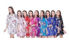 Sakura Silk Satin Bridesmaid Bride Kimono Robe Wedding Gown Dressing Women