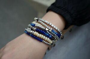 NWT UNO De 50 Blue Murano Glass Multi Strand BONNAROO Silver Bracelet 7