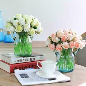 12Heads Silk Rose Artificial Flowers Fake Bouquet Buch Wedding Home Party Decor