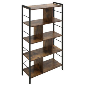 Vintage Industrial Bookcase Tall Display Storage Shelving Unit Stand Metal Retro
