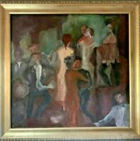 Antique French Original Oil Dancing Woman Party Abstract Impressionist Painting