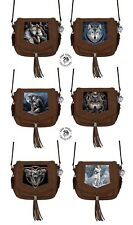 Stunning Anne Stokes 3D Lenticular Brown Suede Effect Shoulder Side Handbag Wolf