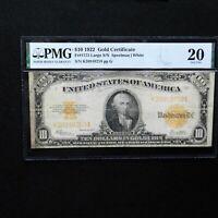 1922 $10 Gold Certificate, Fr #1173 Large S/N, PMG 20 Very Fine (Speelman-White)