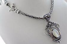 BEAUTIFUL V HEAVY 87g sterling silver Bali BA 925 full HM MOP Byzantine necklace