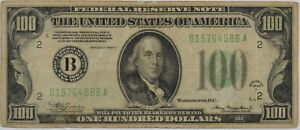 1934 One Hundred Dollar Federal Reserve Note $100 - Circulated Original -