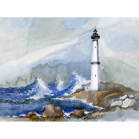 Lighthouse Nautical Painting Large Wall Art Print Canvas Premium Poster
