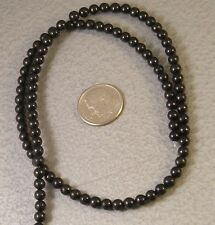 """Natural Jet Lignite Loose Beads 4mm round gemstone 16"""" Top Quality Mongolia"""