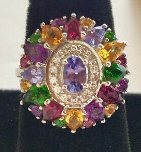 Beautiful Tanzanite Multi Gemstone Halo Ring, Sterling Silver Sz 8 New in Box