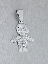 Kleiner Mann Weißgold 585 mit Zirkonias Anhänger Gold Weißgoldanhänger Puppe