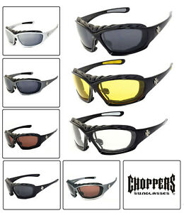 Choppers 919 Padded Foam Wind Resistant Sunglasses Motorcycle Glasses UV Protect