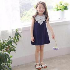 US Baby Girls Dress Summer Casual Beach Sundress Mini Dress Lace Flower 130