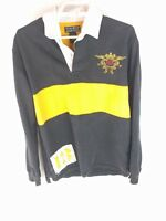 Lucky Brand Vintage Inspired Mens Black Long Sleeve Polo Shirt Size Medium