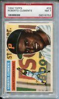 1956 Topps Baseball White Back #33 Roberto Clemente Card Graded PSA Nr Mint 7