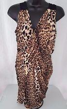 Fredrick's of Hollywood Woman's Brown/Black Leopard Print Sexy Dress Size L