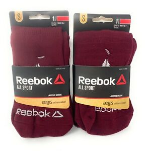 reebok all sport youth socks size small burgundy Two Pair