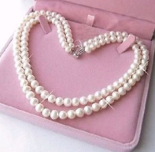 "Natural  7-8mm 2 Rows White Cultured Pearl Jewelry Necklaces 17-18"" AAA"