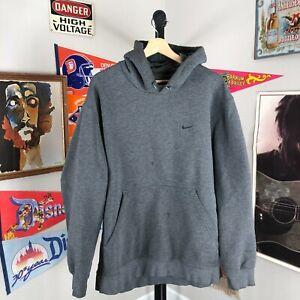 Vintage 90s Nike Mini Swoosh Hoodie Sweatshirt Gray Distressed Men's XL