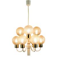 Decken Leuchter weiß 9flammig Glaskugel Hänge Lampe Vintage 60er 70er Jahre