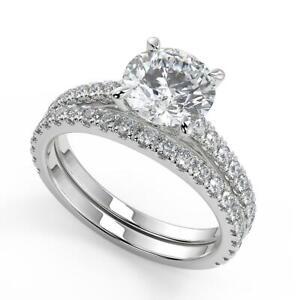 1.9 Ct Round Cut Classic 4 Prong Diamond Engagement Ring Set VS1 H White Gold