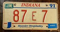 1991 INDIANA Hoosier Hospitality License Plate: 87 E 7.   Fast Free Shipping