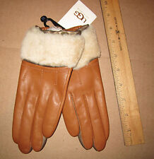 UGG Gloves Shorty Driver Shearling British Tan Leather Med NEW