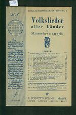 Volkslieder aller Länder für Männerchor a capella 1925 Partituren-Katalog No. 6