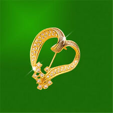 18K Gold Plated Many Zircon Gemstone Diamond Imitation Leaf Heart Pin Brooch