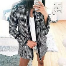 Zara Tweed Jacket Long Black White Houndstooth Check Frayed Blazer XS Small