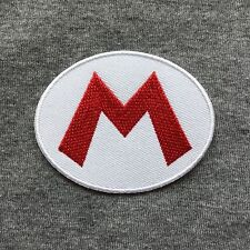 Super Mario M Logo Symbol Iron On Patch Embroidery Patches - Oval