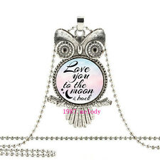 I love you  to the moon and back OWL Cabochon Glass necklace Silver pendant J-10