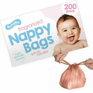 200 x Disposable Nappy Bags Fragranced Baby Diaper Hygienic Tie Handle Sacks