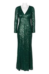 Cachet Green Sequin Gown Long Sleeve V Neck With Removable Insert