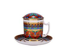 RUSSIAN Imperial Lomonosov Porcelain Mug, Saucer, Lid - Gothic 10. 22k Gold