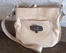 B.Makowsky Crossbody Messenger Shoulder Convertible Bag Cream/Silver USED