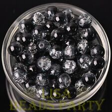 New 20pcs 10mm Round Crystal Glass Loose Spacer Beads Bulk Charms Black