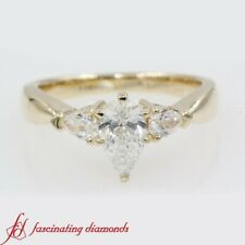 .90 Carat Pear Diamond Past Present Future Engagement Ring In 14k Yellow Gold