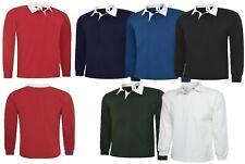Classic Rugby Shirt Plain Sports Work Wear Cotton Jersey Polo