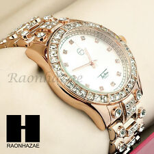 Men Techno Pave Lil Wayne Hip Hop Lab Diamond Rose Gold Iced Out Watch 194RG
