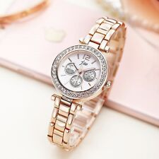 Rose Gold Rhinestone Stainless Steel Luxury Dress Casual Women's Quartz Watches
