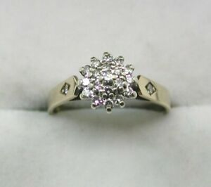 1980's Vintage 9ct Gold And Diamond Cluster Ring