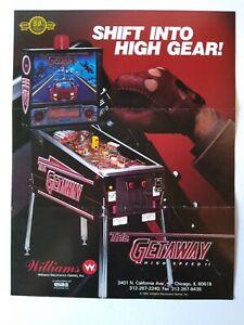 Williams The Getaway Pinball FLYER Original Art Print High Speed II 1992 Folds